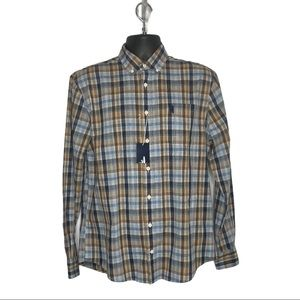 Johnnie-O Plaid Print Long Sleeve Shirt Size M